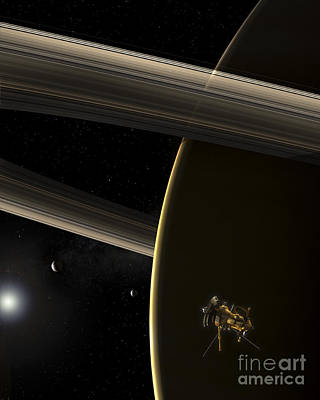 Car Photos Douglas Pittman - The Cassini Spacecraft In Orbit by Steven Hobbs