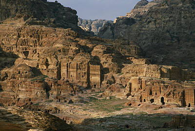 The Caves And Tombs Of Petra, Shown Art Print by Annie Griffiths