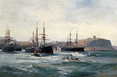 Seacape Painting - The Channel Fleet Off Scarborough by William Lionel Wyllie