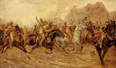 Chapelle Painting - The Charge Of The Bengal Lancers At Neuve Chapelle by Derville Rowlandson