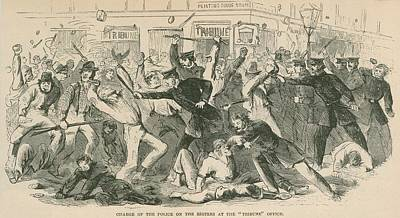 The Charge Of The  New York City Police Art Print