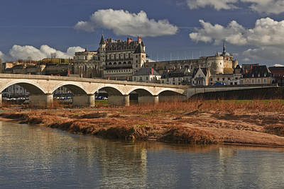 Amboise Photograph - The Chateau Of Amboise On The Banks Of The Loire River In France To  Right Of The Main Castle Is The Chapel, Which Is The Final Resting Place Of Leonardo De Vinci by Julian Elliott Ethereal Light