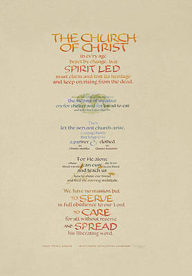 The Church Of Christ In Every Age I Art Print by Judy Dodds
