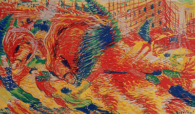 Rising Painting - The City Rises by Umberto Boccioni