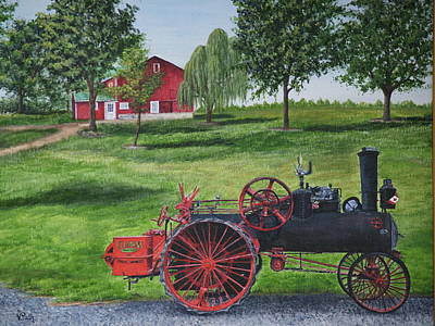 Steam Tractor Painting - The Clemens Farm by Vicky Path