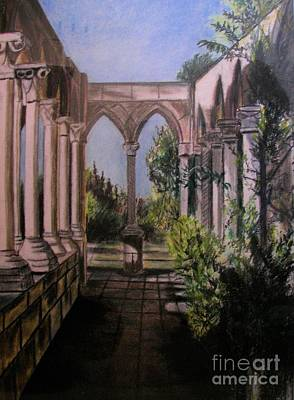 Painting - The Cloisters Colonade by Judy Via-Wolff