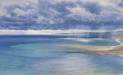Cloudy Painting - The Coast Of Sicily From The Taormina Cliffs by John Brett
