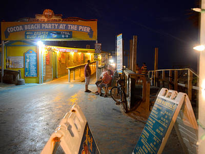 Photograph - The Cocoa Beach Pier At Night by Laura DAddona