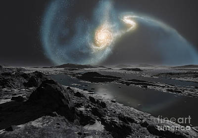 Merging Digital Art - The Collision Of The Milky Way by Ron Miller