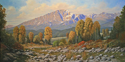 The Color Of August - Pike Peak 111121-3060 Art Print by Kenneth Shanika