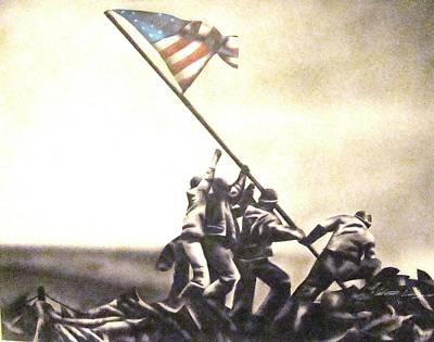 Iwo Jima Drawing - The Colors Of Freedom by Adrian Villegas