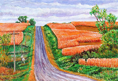 Powerlines Painting - The Coming Harvest by David Bratzel