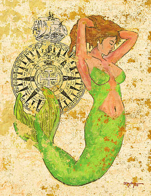 The Compass And The Mermaid Art Print by William Depaula