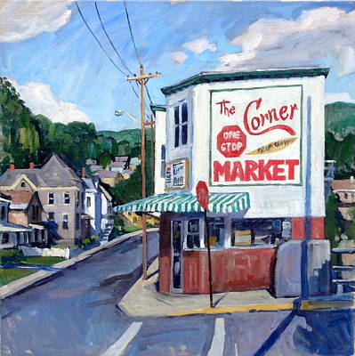 Forties Painting - The Corner Market by Thor Wickstrom