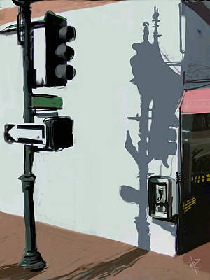 Traffic Light Mixed Media - The Corner by Russell Pierce