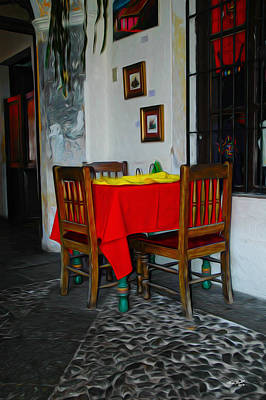 Antigua Painting - The Corner Table by Tom Bell