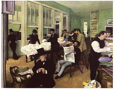 The Cotton Market In New Orleans Art Print by Edgar Degas