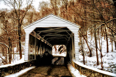 The Covered Bridge At Valley Forge Print by Bill Cannon