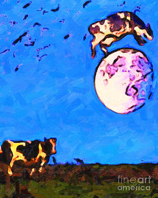 Perigee Moon Photograph - The Cow Jumped Over The Moon . Painterly by Wingsdomain Art and Photography