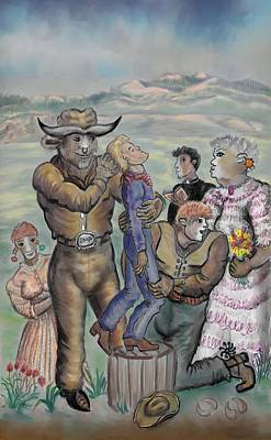 Drawing - The Cow People - Dream Series 4 by Dawn Senior-Trask
