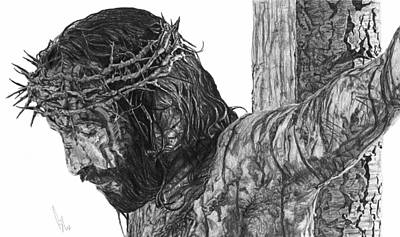 Jesus Drawing - The Cross by Bobby Shaw