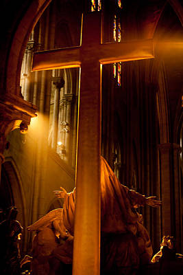 Photograph - The Cross In Notre Dame by Anthony Doudt