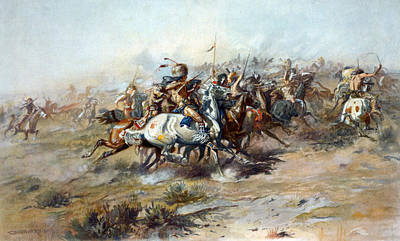 The Custer Fight, The Battle Art Print by Everett