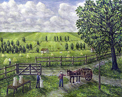 Horse And Cart Painting - The Dairy Farm by Ronald Haber