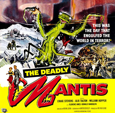 1950s Movies Photograph - The Deadly Mantis, 6-sheet Poster Art by Everett