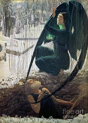 The Death And The Gravedigger Art Print by Carlos Schwabe