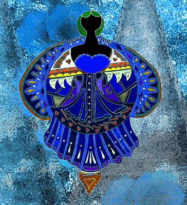 Wall Art - Drawing - The Denim Goddess by Lori Kirstein