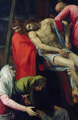 Sadness Painting - The Descent From The Cross by Bartolome Carducci