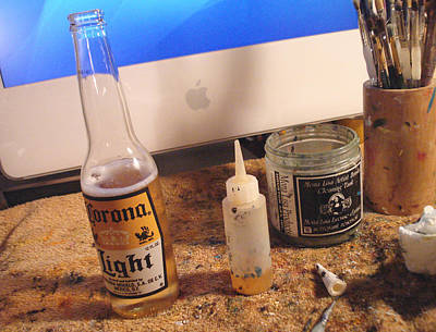 Beer Royalty-Free and Rights-Managed Images - The desk of an artist by Hiroko Sakai
