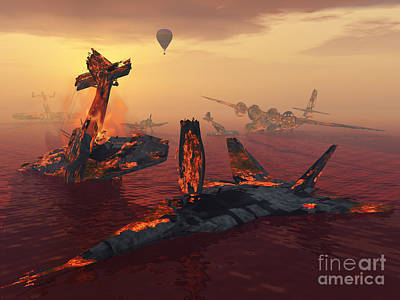 The Destruction Of Fighter Planes Art Print by Mark Stevenson