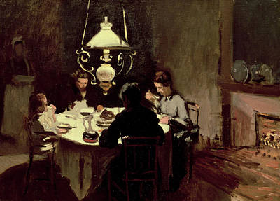 Moody Painting - The Dinner by Claude Monet