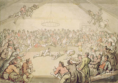 Crowds Painting - The Dog Fight by Thomas Rowlandson