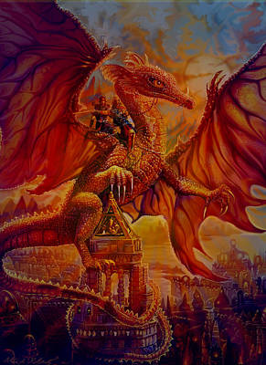 Print featuring the painting The Dragon Riders by Steve Roberts