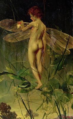 Naked Fairies Painting - The Dragonfly by Nellie Joshua