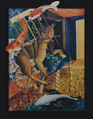 Contemporary Painting - The Dream Of Picassos Cat by Eve Riser Roberts