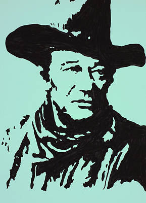 John Wayne Drawings Drawing - The Duke In Color by Robert Margetts