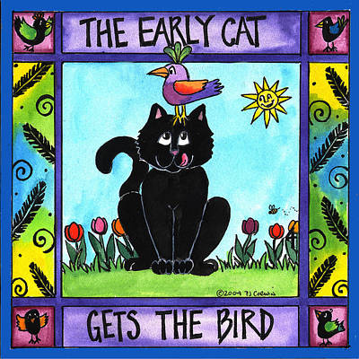 The Early Cat Gets The Bird Art Print by Pamela  Corwin