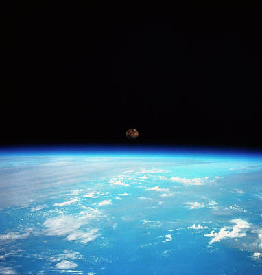 Space Ships Photograph - The Earth And The Moon Viewed From Space by Stockbyte