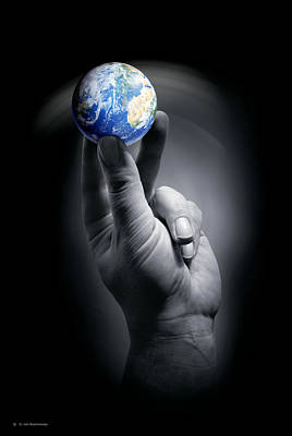 The Earth Held By A Human Hand Art Print by Detlev Van Ravenswaay