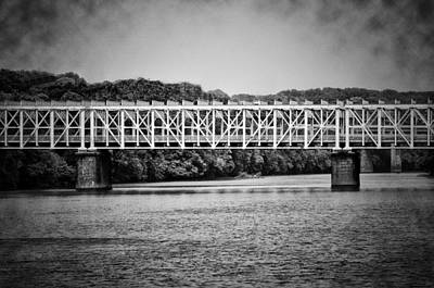 Rivers In The Fall Digital Art - The East Falls Bridge In Black And White by Bill Cannon