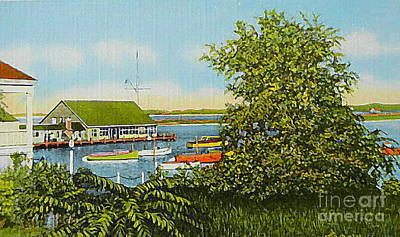 Painting - The Edgartown Harbor And Yacht Club On Martha's Vineyard Ma C.1910 by Dwight Goss