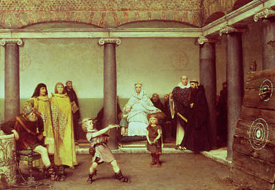 Axes Painting - The Education Of The Children Of Clothilde And Clovis by Sir Lawrence Alma-Tadema