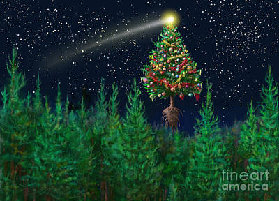 Digital Art - The Egregious Christmas Tree Classic Landscape by Russell Kightley