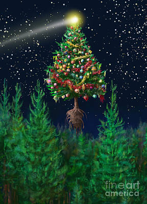 Digital Art - The Egregious Christmas Tree Classic Portrait by Russell Kightley