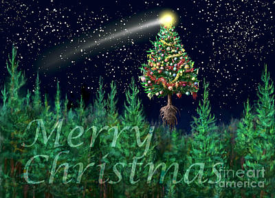 Digital Art - The Egregious Merry Christmas Tree Landscape  by Russell Kightley