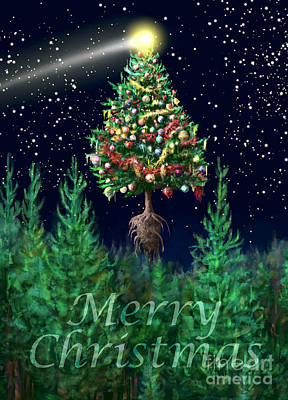 Digital Art - The Egregious Merry Christmas Tree Portrait by Russell Kightley